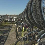 Des rangées de vélos accrochés à des supports à vélos installés à l'extérieur.