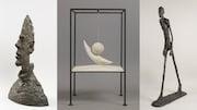 Il s'agit d'un montage de photos comprenant trois sculptures de Giacometti soit Grande tête mince, la Boule suspendue et l'homme qui marche.