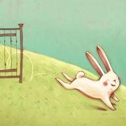 Illustration d'un lapin souriant qui saute par-dessus une barrière et s'enfuit.