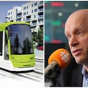 Montage photo avec d'un côté un tramway blanc et vert en circulation et de l'autre un homme qui parle devant un micro.