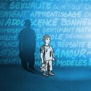 Le dessin d'un petit garçon avec son ombre devenue adolescence avec les mots « action », « développement », « bonheur », « amour », « modèle », « réussite », « apprentissage » écrits sur un mur derrière lui.