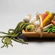 Oignons, carottes, laitue tricotés par l'artiste aussi appelée Madame Tricot, Dominique Kaehler-Schweizer