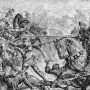 Gravure en noir et blanc représentant la bataille de Towton, en 1461.