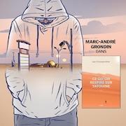 Illustration d'un jeune homme portant un chandail à capuche sur fond de paysage désertique.