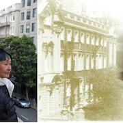 Image divisée: à gauche une quinquagénaire d'origine asiatique, de profil, sur fond urbain. À droite, image d'archive d'une quadragénaire à lunettes tirée des années 50 sur fond d'architecture sépia.