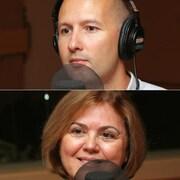 Montage de quatre photos de Guy Falardeau, de Martin Pearson, de Benoît Hammarrenger et de Lila Amirali, devant un micro de radio.