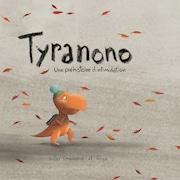 La page couverture du livre. Un petit dinosaure qui marche.