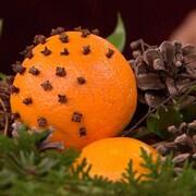 La décoration est composée d'oranges, de branches, de feuillage et de cocottes de pins.