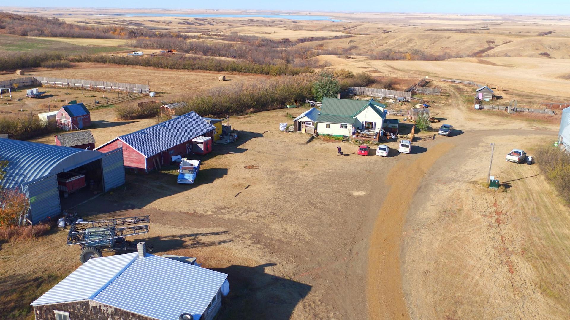 Vue aérienne de la ferme où a grandi Annette Campagne.
