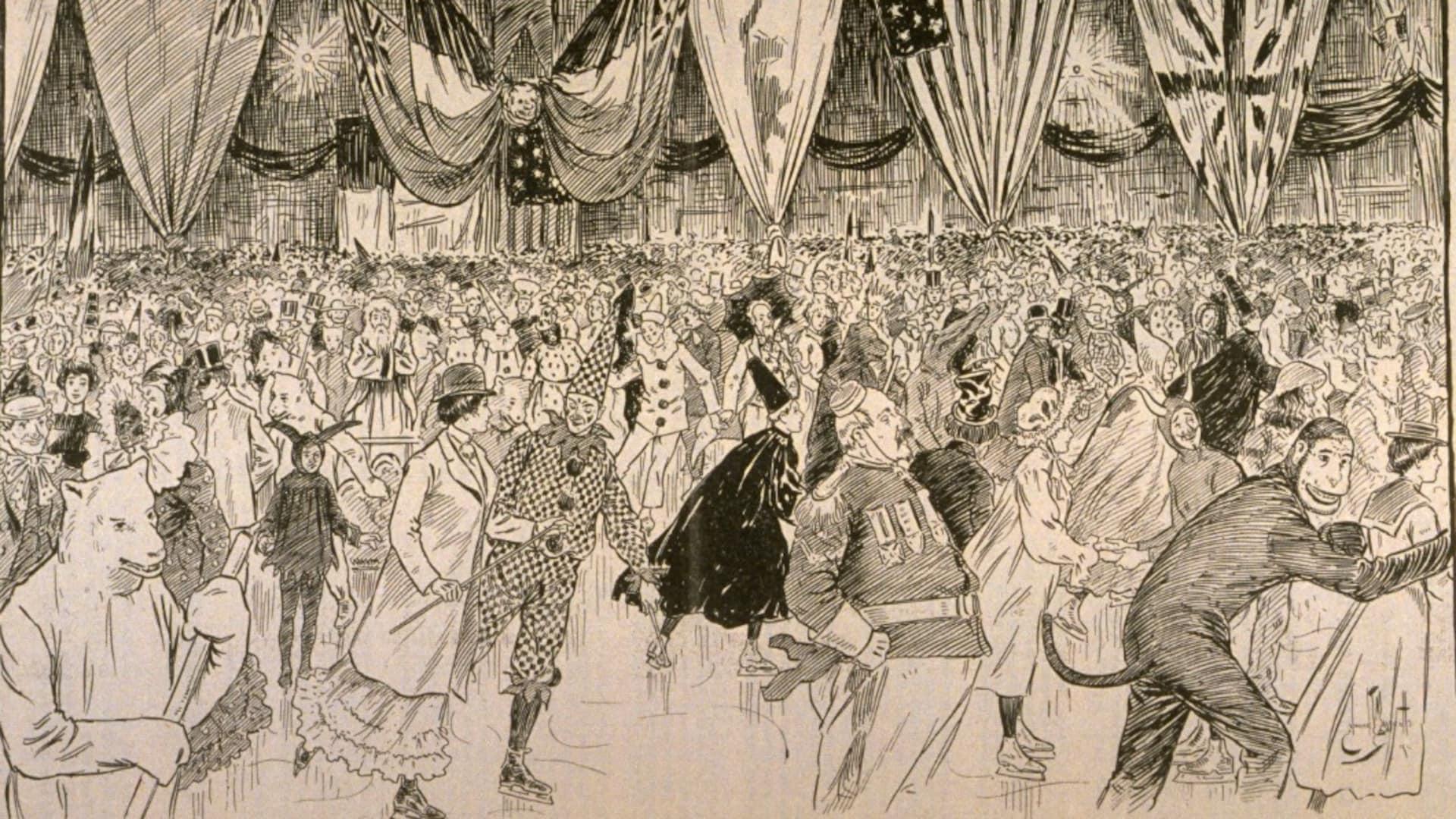La foule est dense sur la patinoire intérieure décorée de l'image, on ne voit presque pas la glace. Les costumes sont incroyablement variés, de l'Arlequin au loup en passant par le sorcier ou le singe!