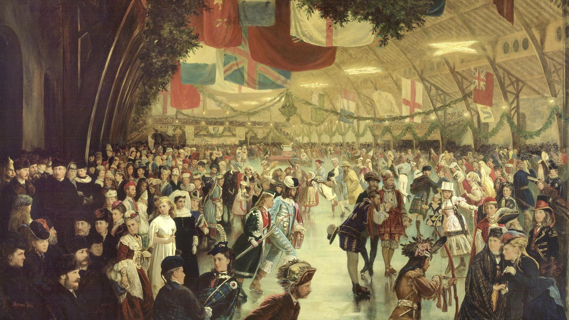 Des patineurs participent à un bal costumé sur glace dans l'aréna du Victoria Rink. La décoration de sapinages et de drapeaux est somptueuse, tout comme les costumes des participants, rassemblés par centaine tout autour de la glace.