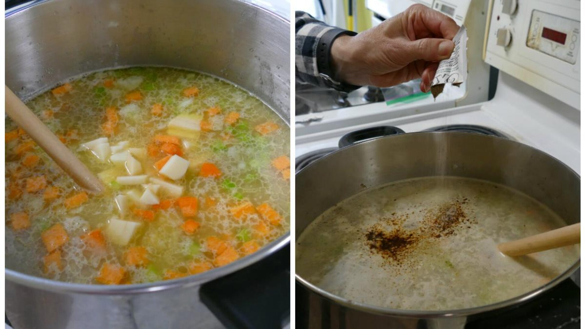 On ajoute dans le chaudron de soupe le bouillon.