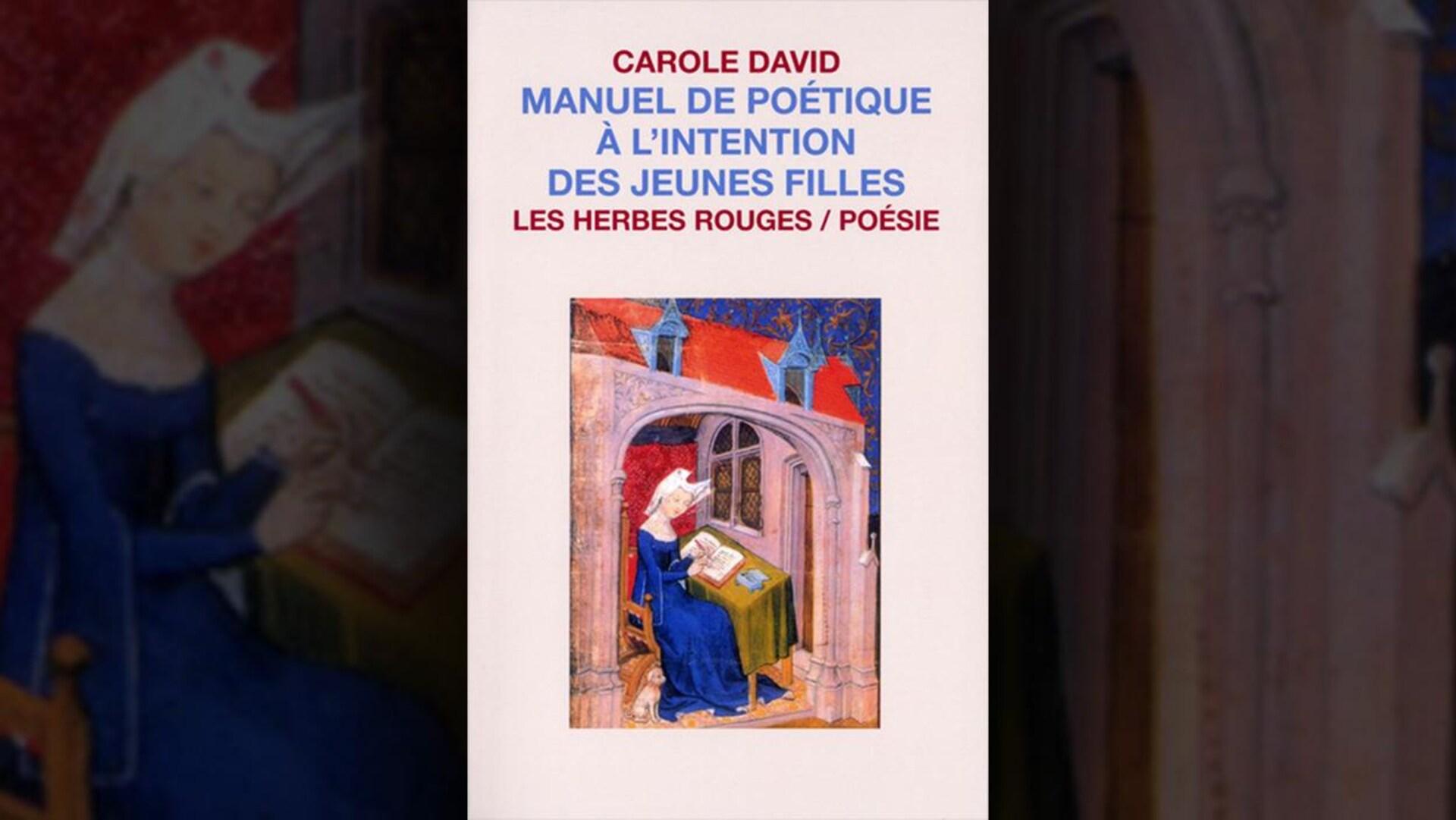 Montage de la couverture du livre «Manuel de poétique à l'intention des jeunes filles» de Carole David. Sur la couverture est dessinée une scène médiévale représentant une femme écrivant avec un chien à ses pieds.