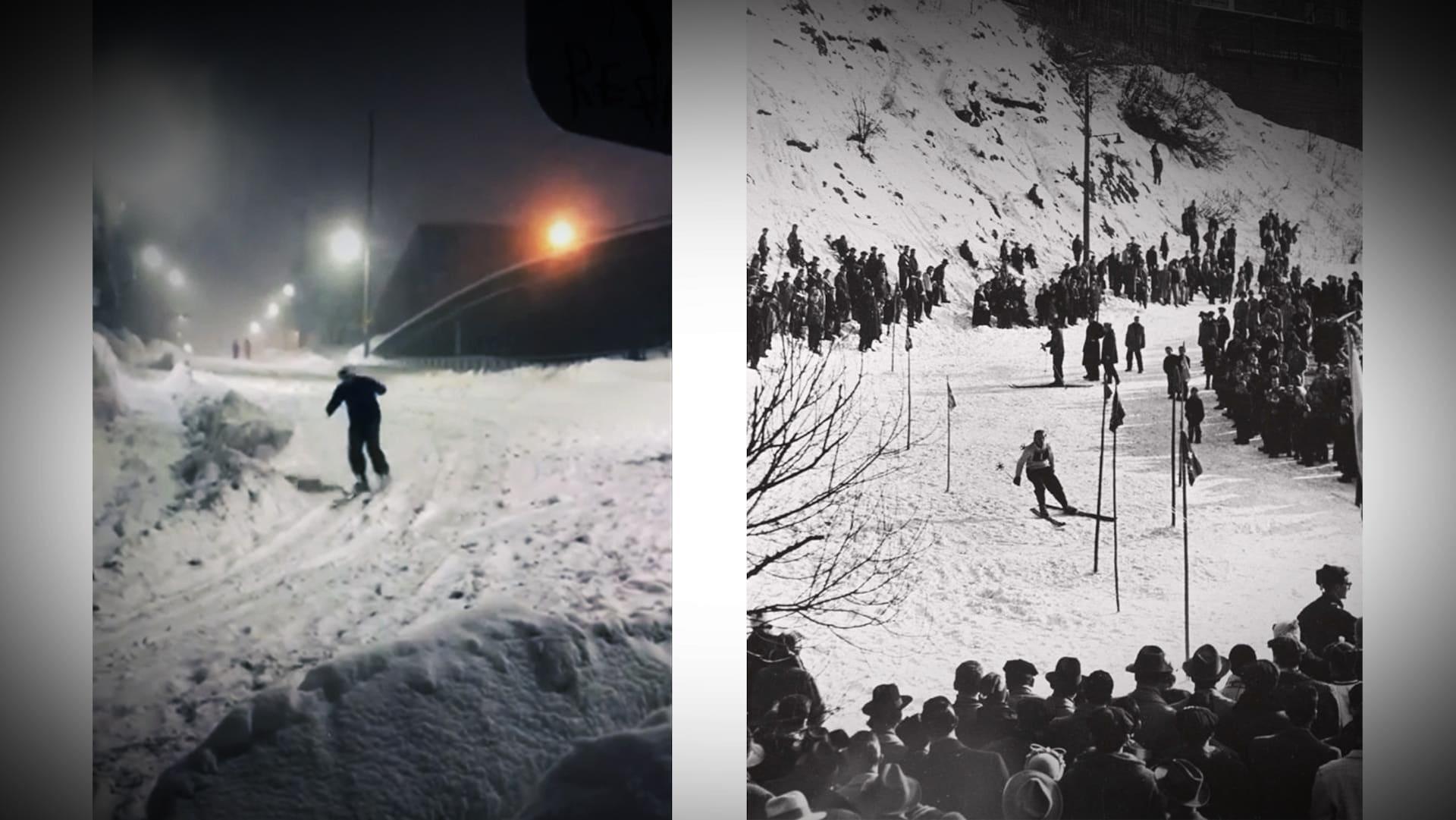 À gauche, un skieur dans la côte de Salaberry en février 2019, à droite, un skieur dans la côte de Salaberry en février 1956