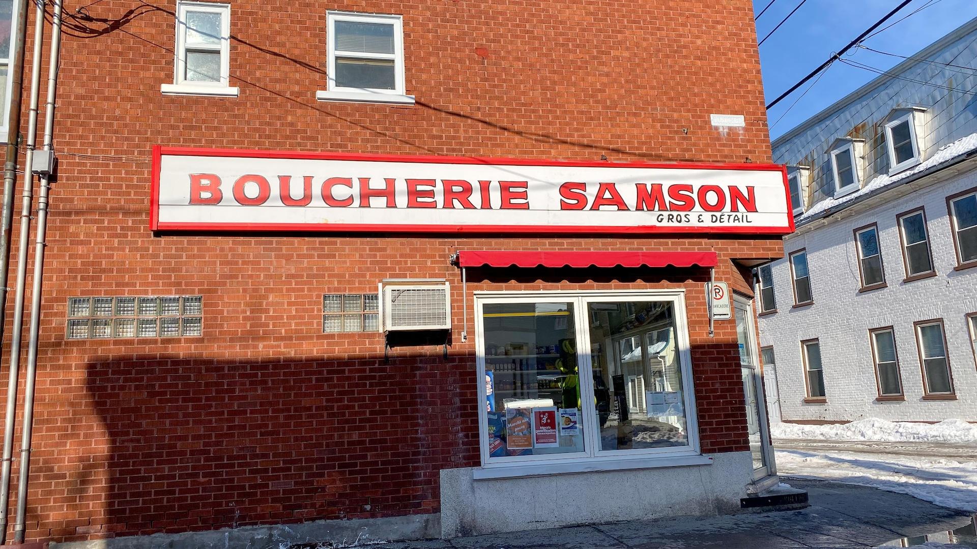 La façade de la Boucherie Samson & Fils.