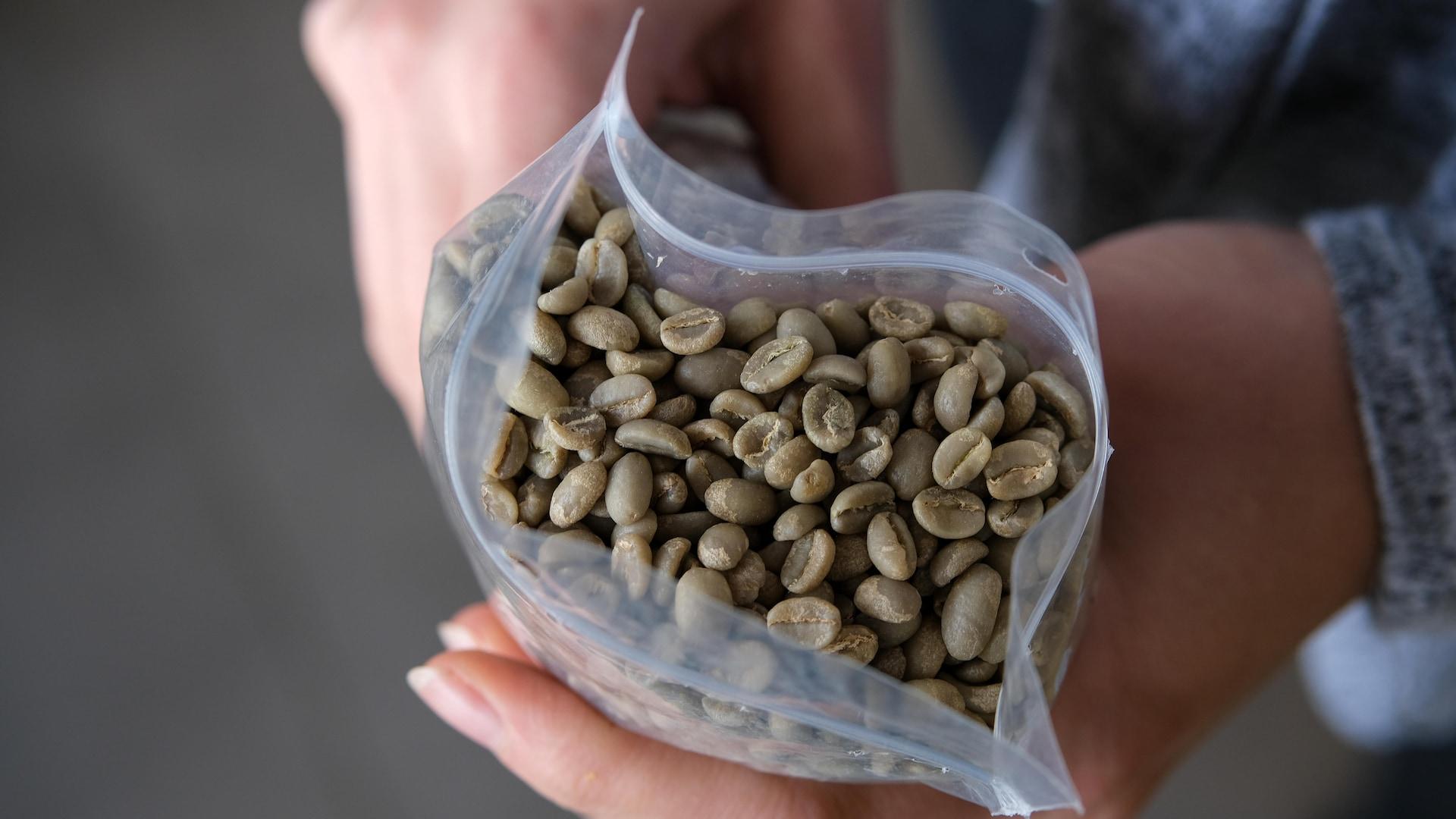 Un sac de grains de café verts.