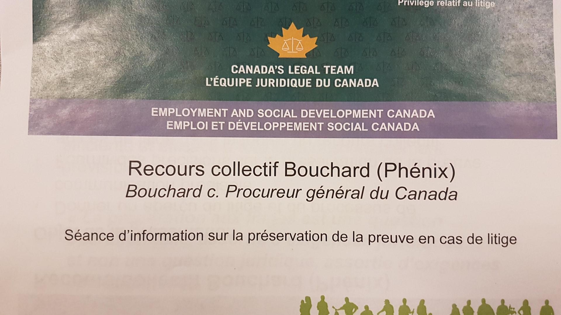 Page couverture d'un document imprimé intitulé : «Recours collectif Bouchard (Phénix)»
