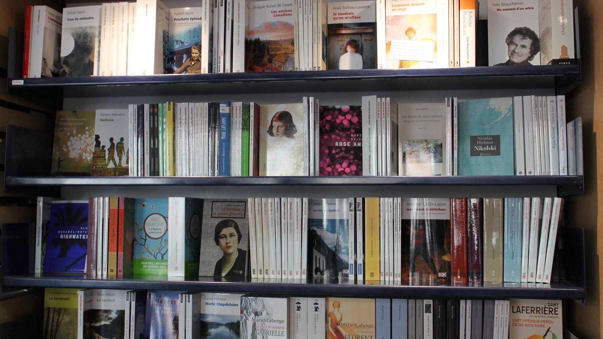 De nombreux livres sont placés sur des tablettes.