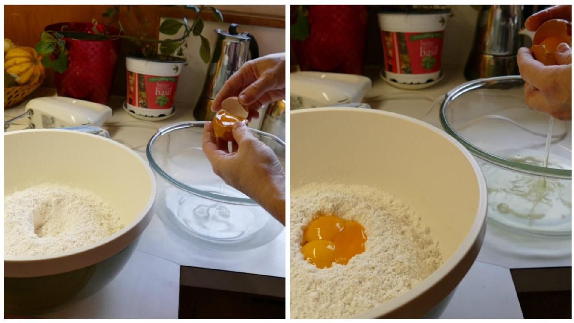 Séparer les jaunes d'oeuf des blancs.