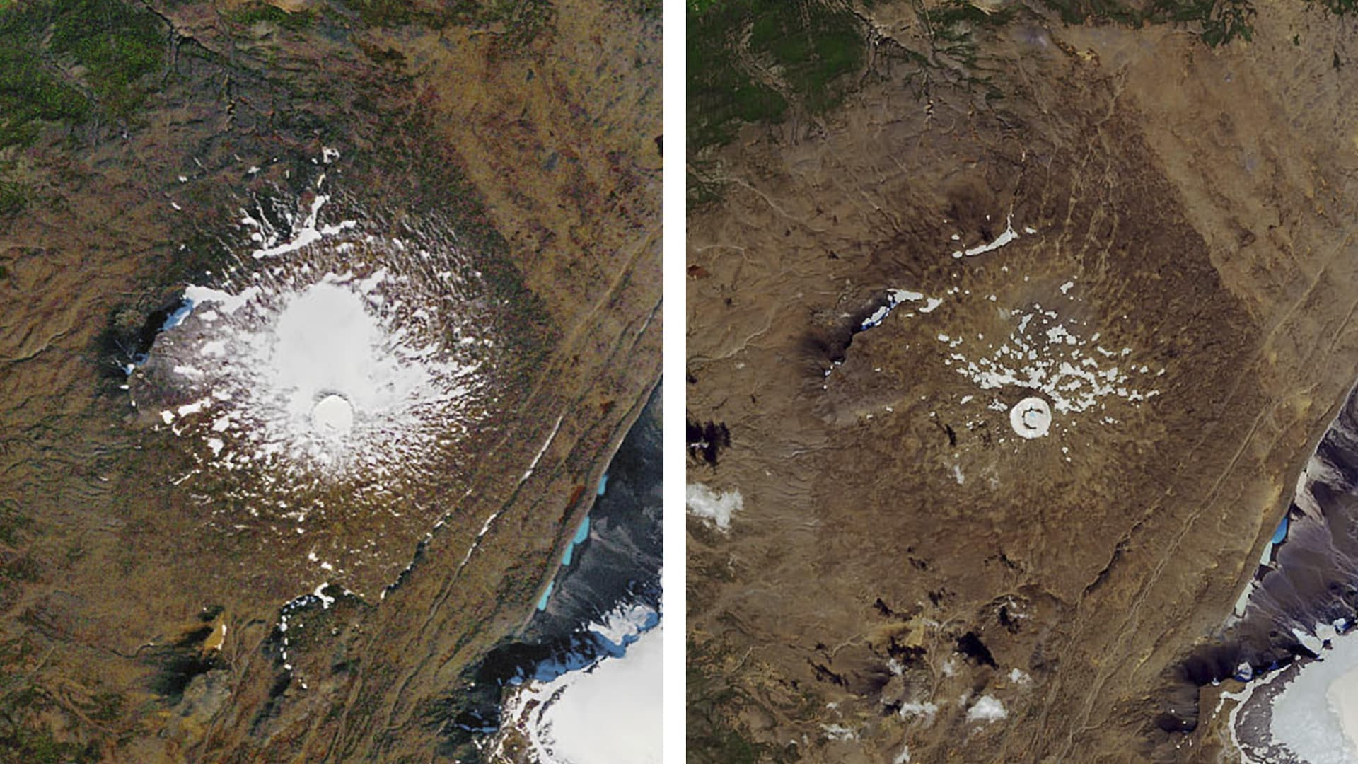 À gauche, une photo aérienne du glacier prise par la NASA en septembre 1986, et à droite, le même point de vue en août 2019. La superficie a grandement diminué.
