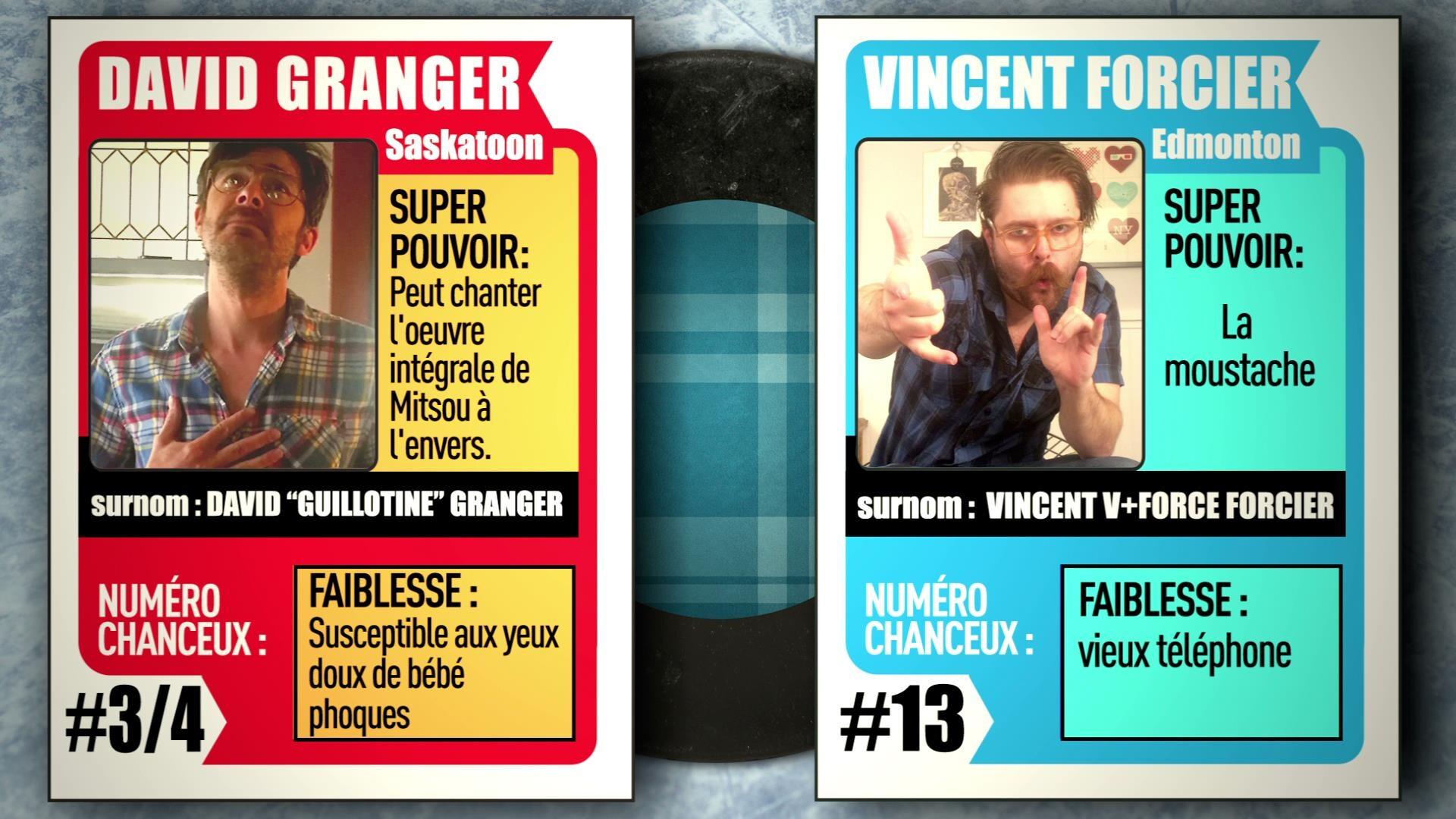 Deux cartes de hockey avec les membres de l'équipe des carreautés du match d'impro virtuel: IMPROVISIO. Il s'agit de David Granger et de Vincent Forcier.