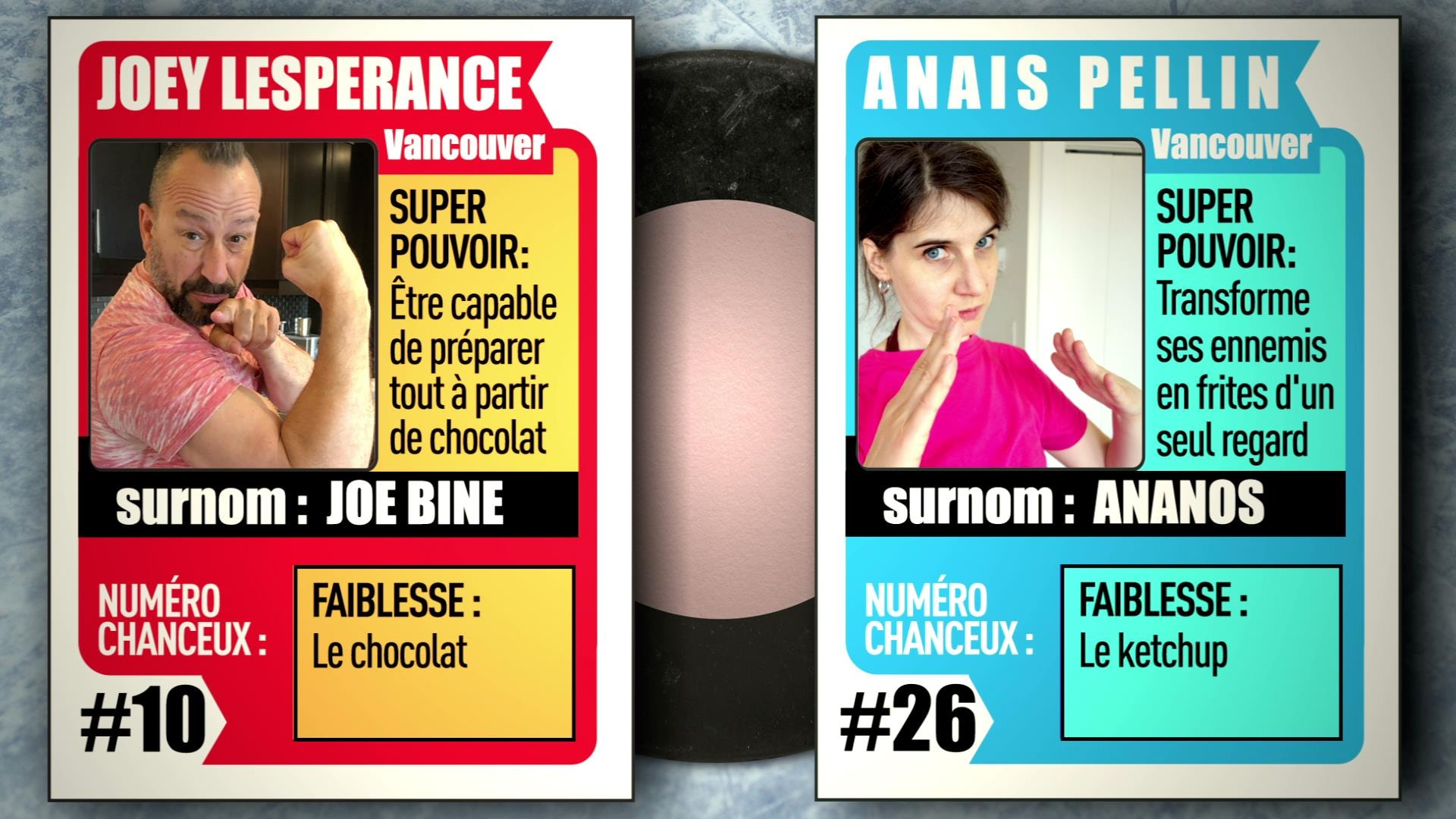 Deux cartes de hockey avec les images des participants de l'équipe des roses Anaïs Pellin et Joey Lespérance. Pour le match d'impro virtuel IMPROVISIO.