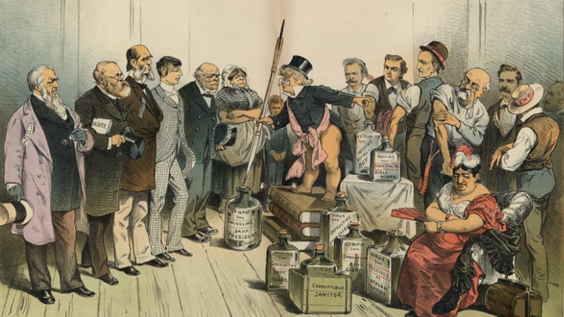 Un homme bonimente une foule entouré de fioles et de livres médicaux, mais ses arguments ne semblent convaincre personne.