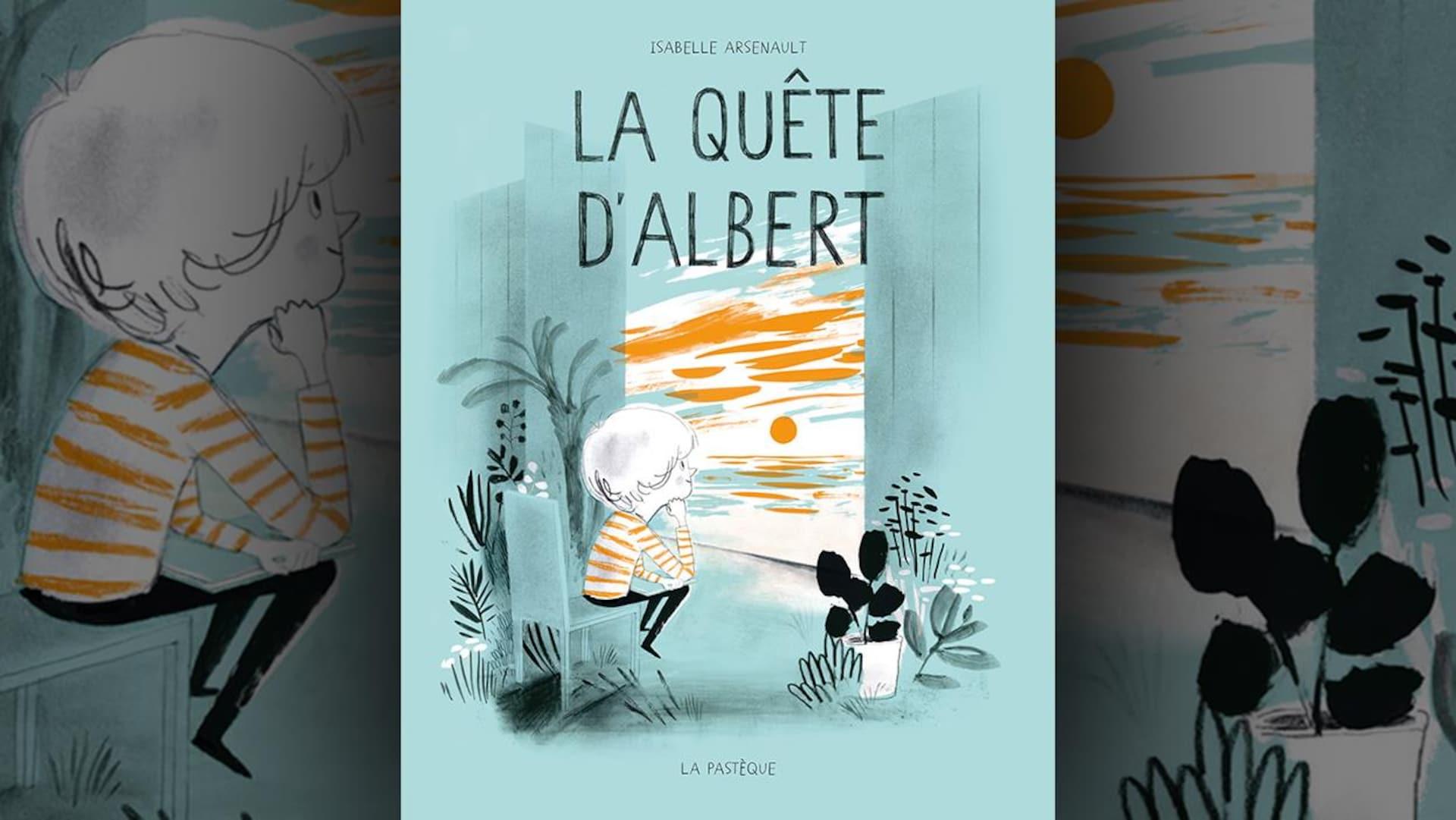 Sur la couverture du livre  La quête d'Albert , d'Isabelle Arsenault, est dessiné un enfant vêtu d'un chandail rayé orange et blanc, assis sur une chaise, le menton appuyé sur son coude, devant une palissade de bois ouverte, regardant un coucher de soleil.