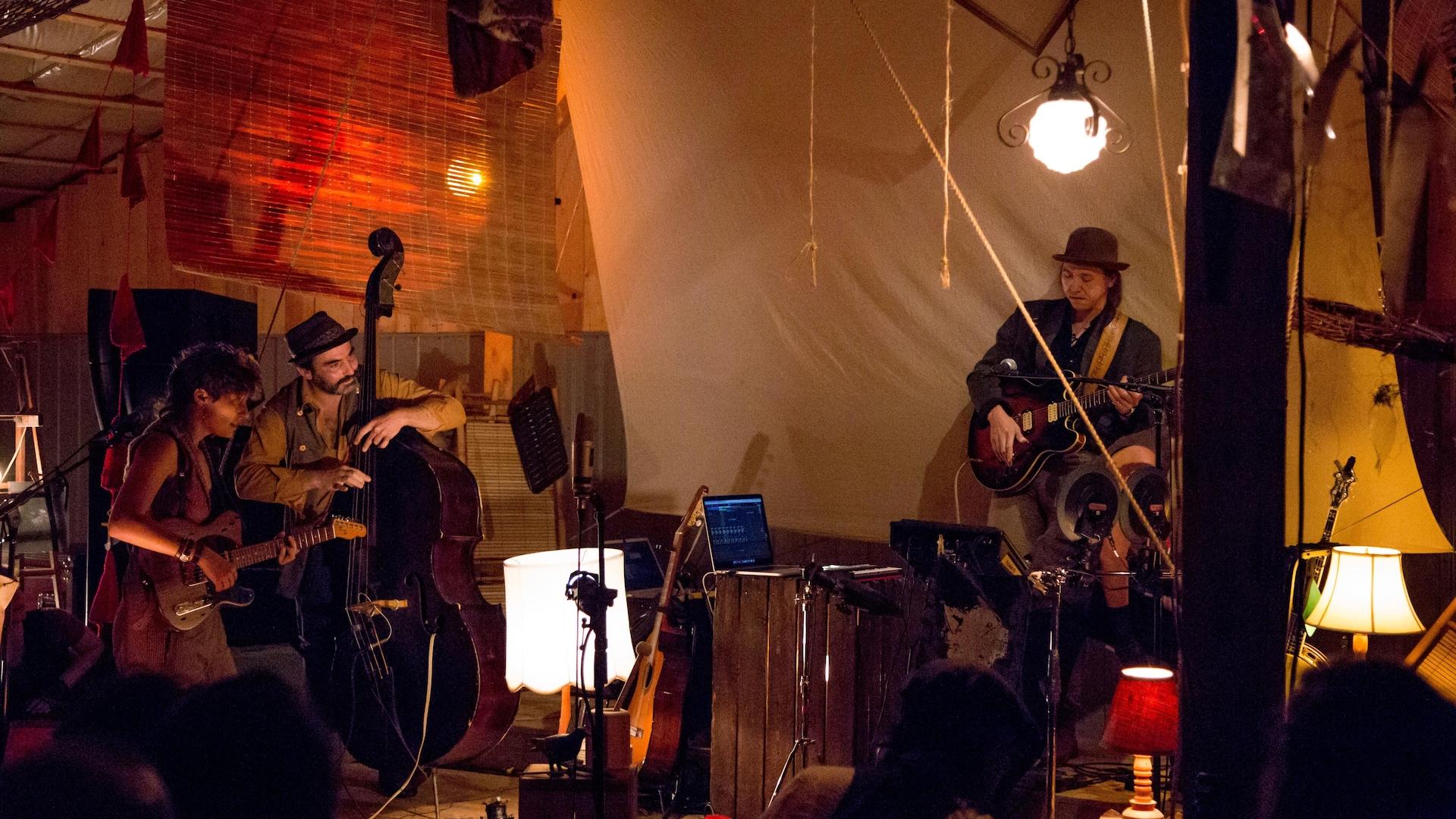 Liliane Pellerin sur une scène avec d'autres musiciens.