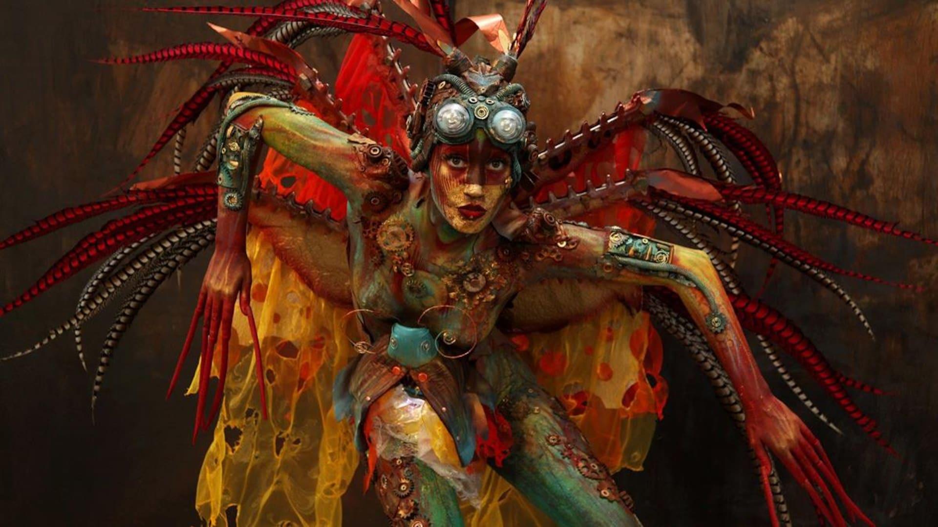 Une femme déguisée en insecte.