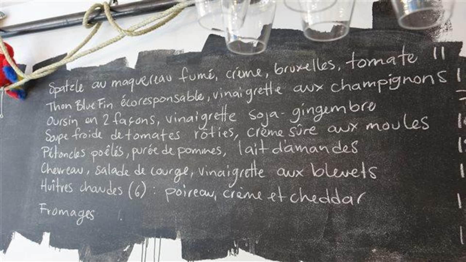 Un menu de restaurant.