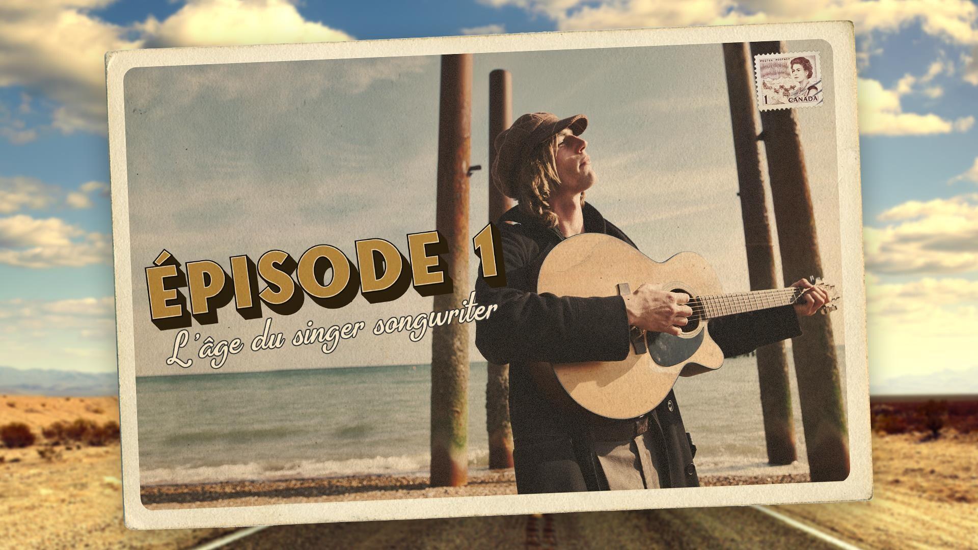 Ilustration de carte postale sur laquelle un homme tient une guitare.