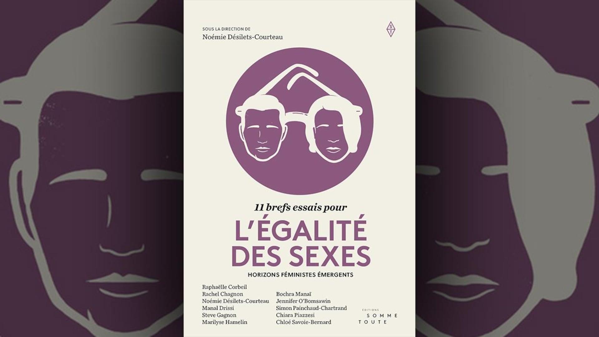Sur la couverture du livre  11 brefs essais pour l'égalité des sexes  sous la direction de Noémie Désilets Courteau, il y a dans un cercle une illustration blanc cassé sur fond violet d'une paire de lunettes. Le verre droit représente un visage d'homme stylisé, et le verre gauche, un visage de femme.
