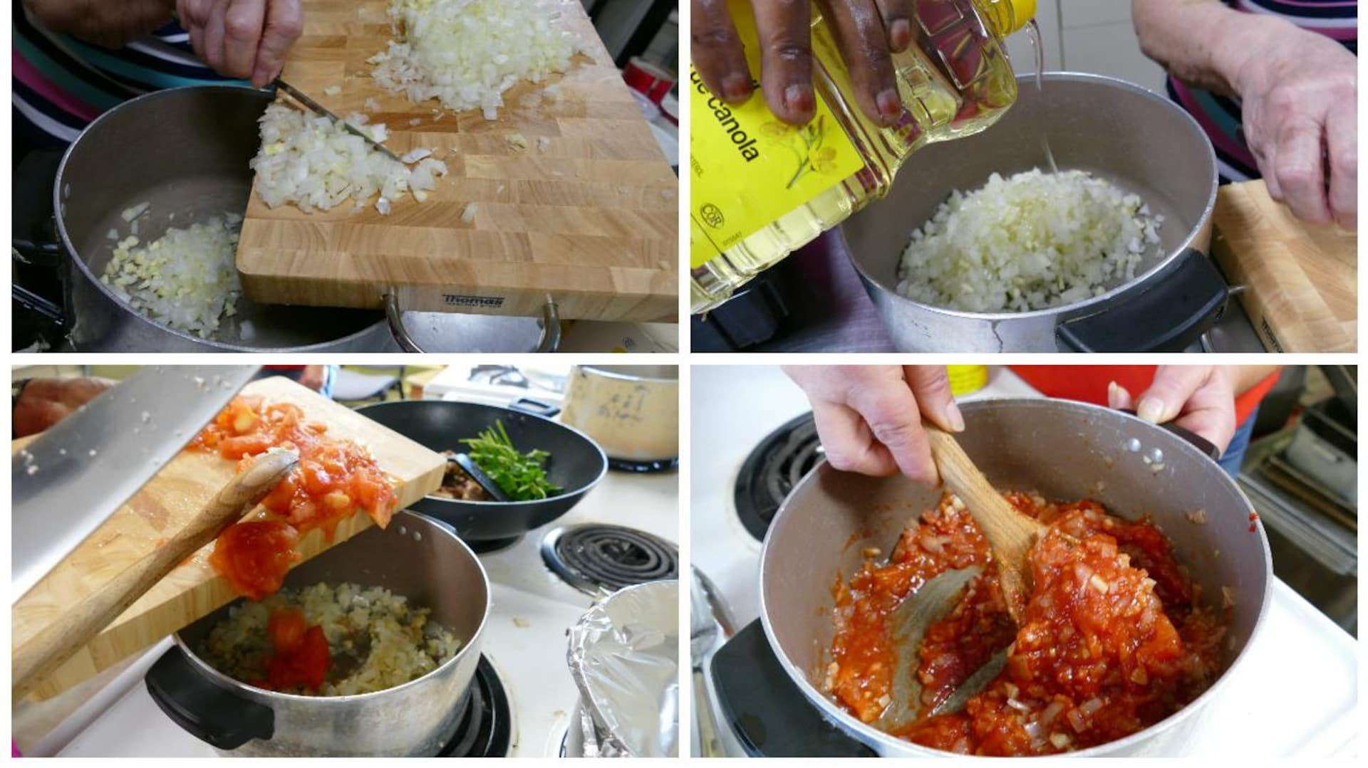 On verse les oignons hachés dans un grand chaudron, on ajoute de l'huile, des tomates hachées et on mélange la sauce.