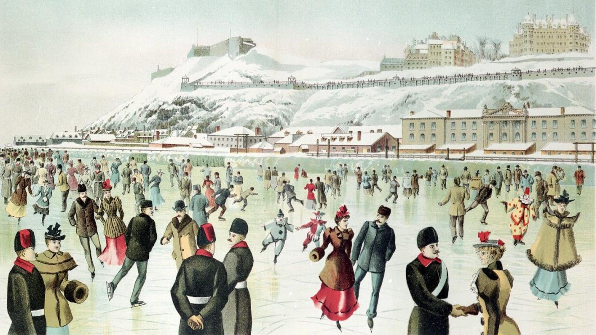 Des patineurs sur le fleuve, dont plusieurs très chics en habit de ville, parmi lesquels on voit plusieurs patineurs en costume de carnaval.