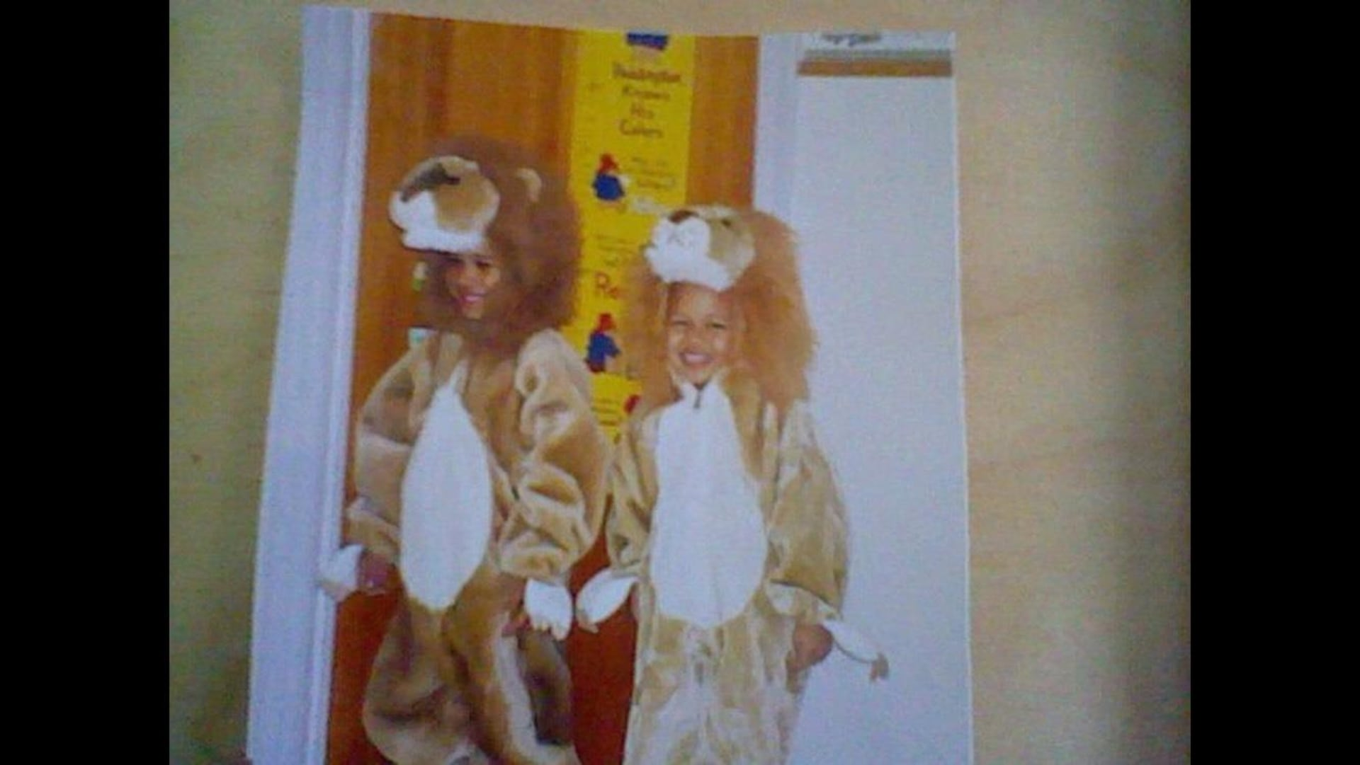 Deux jeunes garçons sont déguisés en lions.