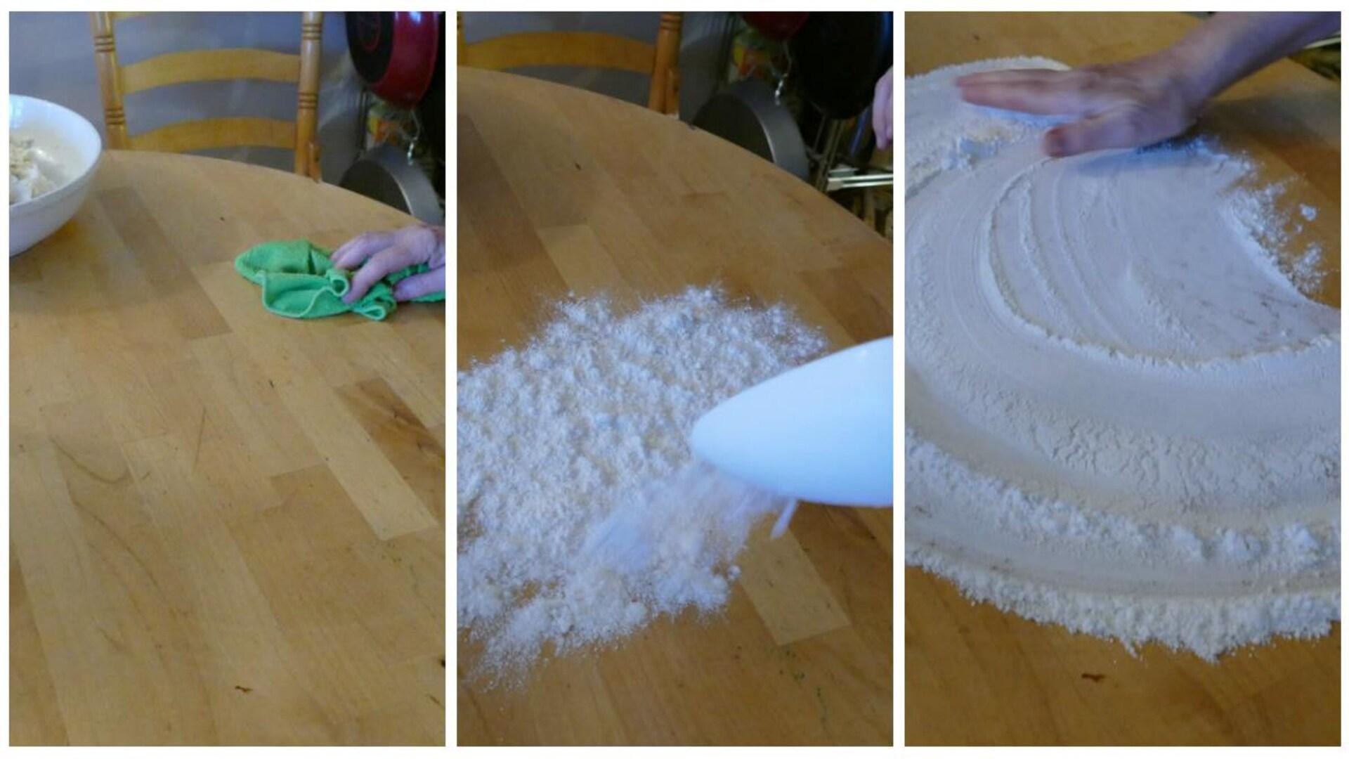 Préparation de la table pour rouler la pâte