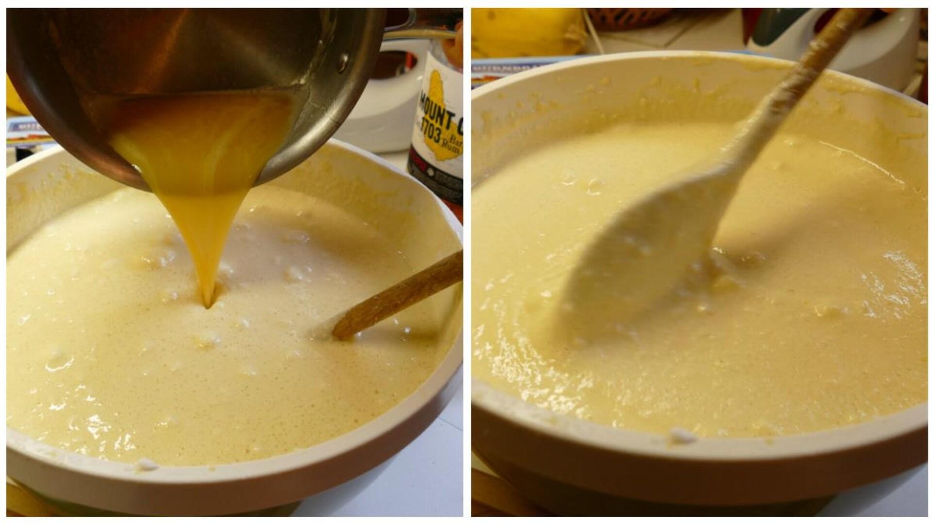Ajouter le rhum au mélange.