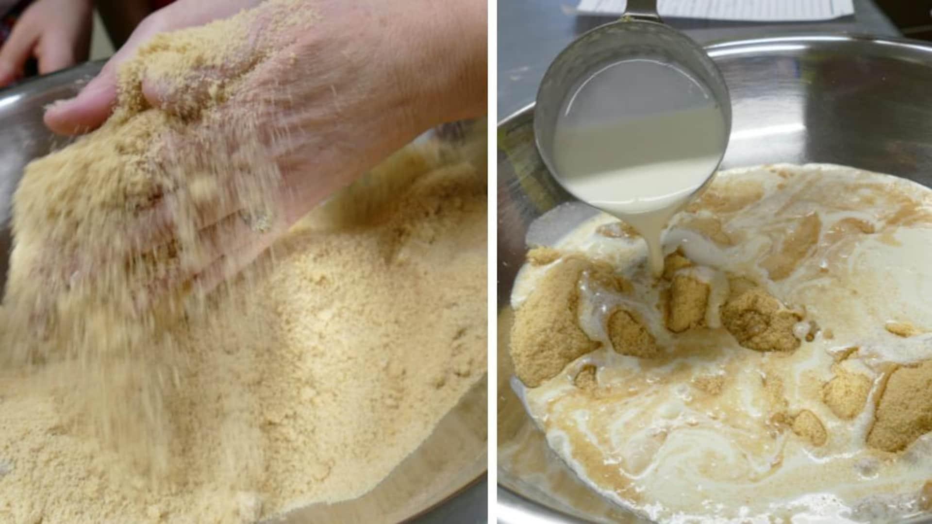 Avec ses mains Paulette s'assure qu'il n'y a pas de grumeaux de sucre et on ajoute la crème.