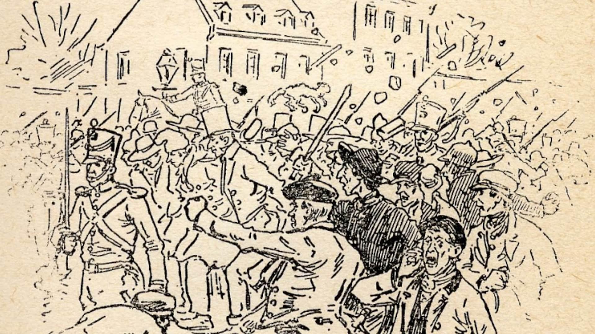 Des émeutiers crient leur colère et lancent des pierres alors que des soldats peinent à les contenir.