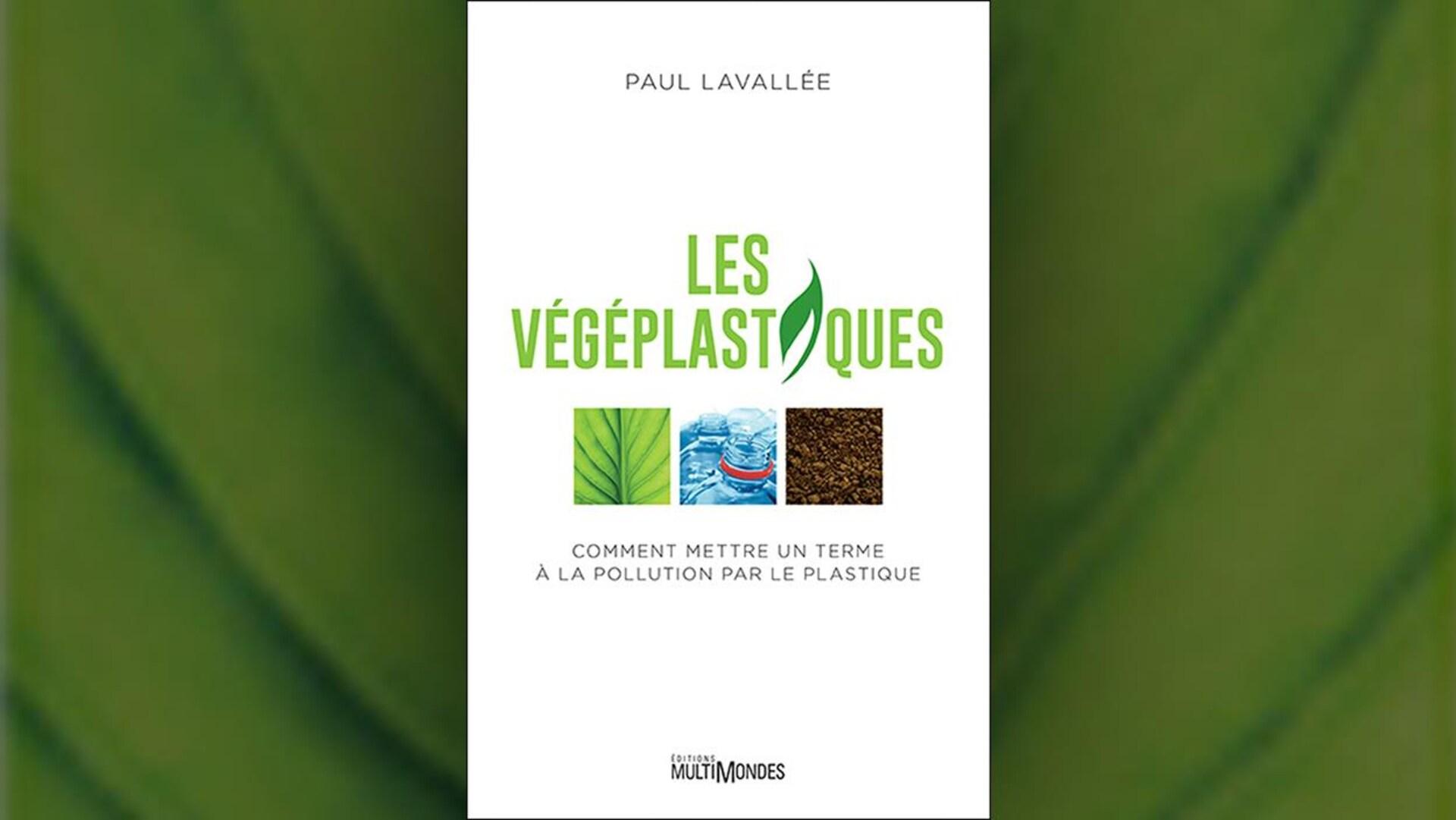 Dans le titre, en lettres vertes, le i du mot plastiques est remplacé par une feuille. Sous le titre, trois petites images carrées montrant en gros plan une feuille, des bouteilles d'eau en plastique et de la terre.