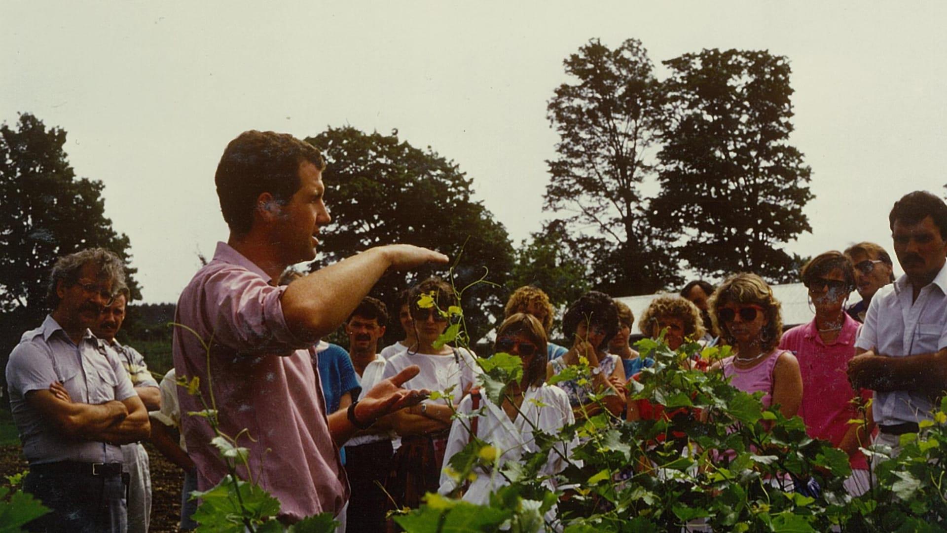 Des gens écoutent attentivement les explications de leur guide vigneron au milieu des vignes, par une belle journée d'été.