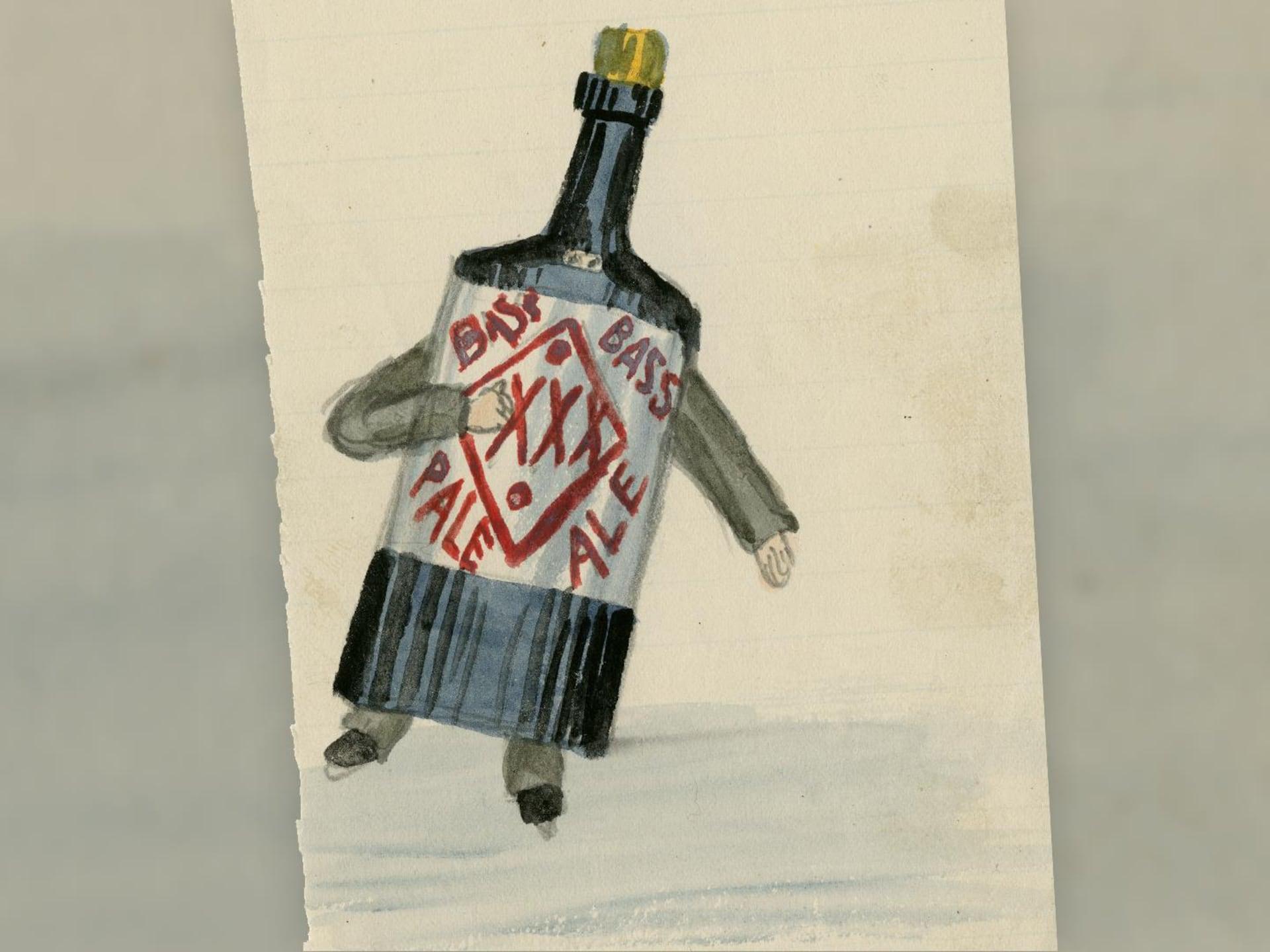 Un patineur déguisé en bouteille de bière Bass Pale Ale en mouvement sur la glace, et on devine qu'il ne doit pas y voir grand-chose, seuls ses yeux sont visibles dans une petite fente.