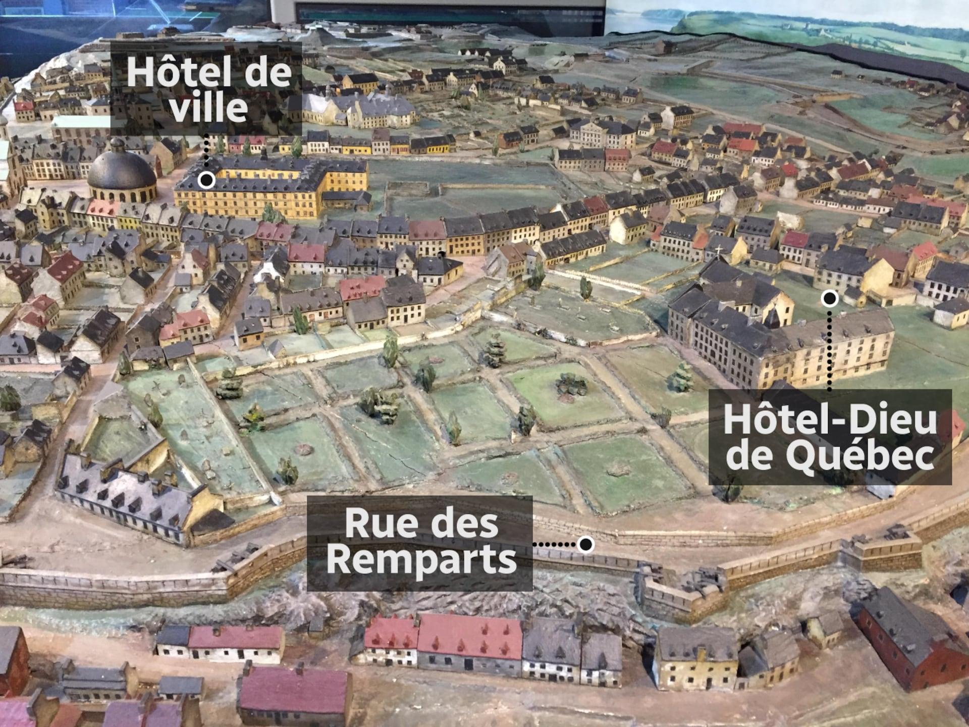 Le cimetière des Picotés se trouve au bout des vastes terres des Augustines et de l'Hôtel-Dieu sur la maquette. Il est situé derrière l'imposante Maison Montcalm. La rue des Remparts qui serpente le long des fortifications comporte alors très peu de maisons.