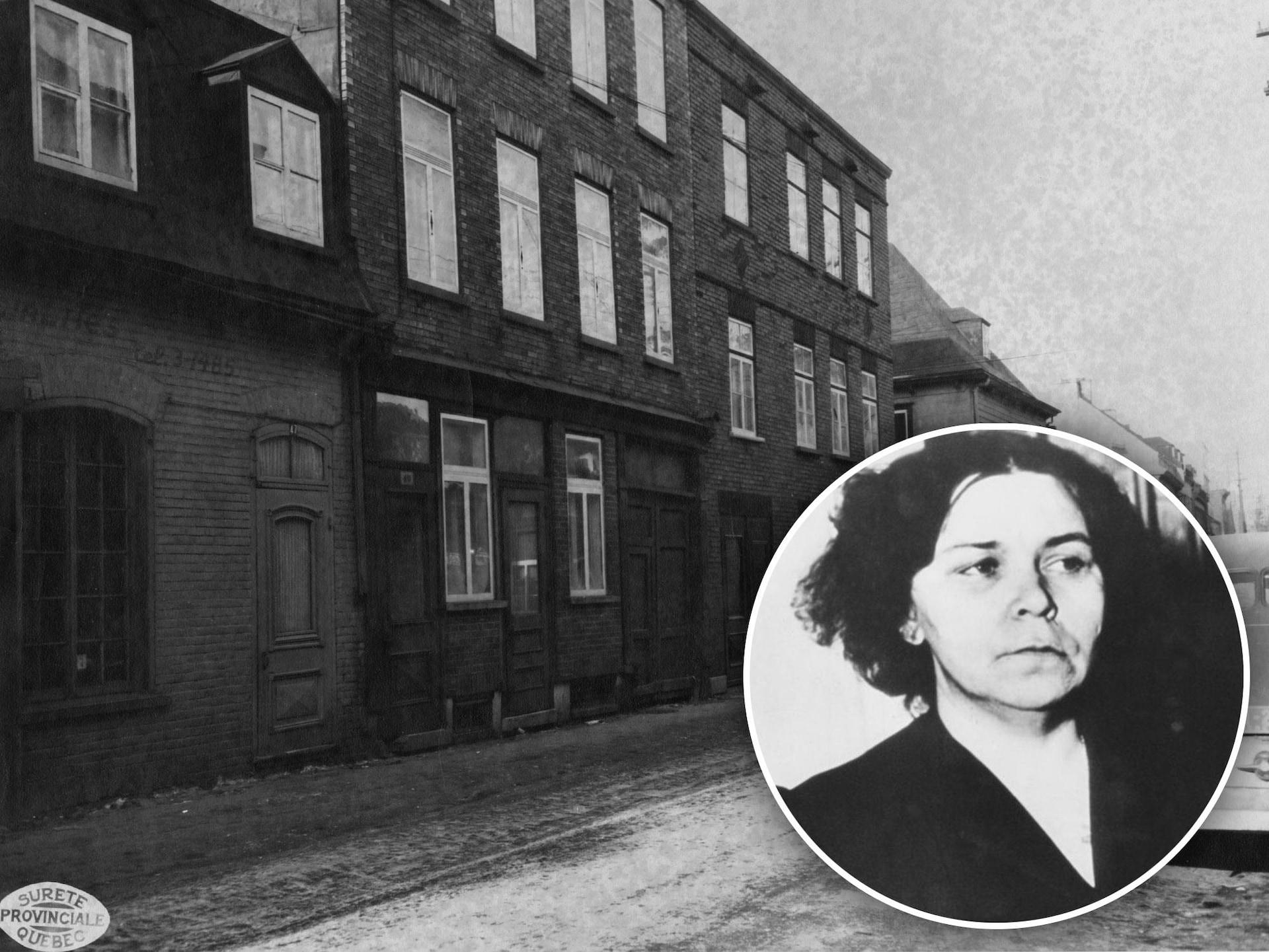 Deux photos en noir et blanc, des appartements sur une rue dans les années 50 et une dame avec un air sévère en bas à droite