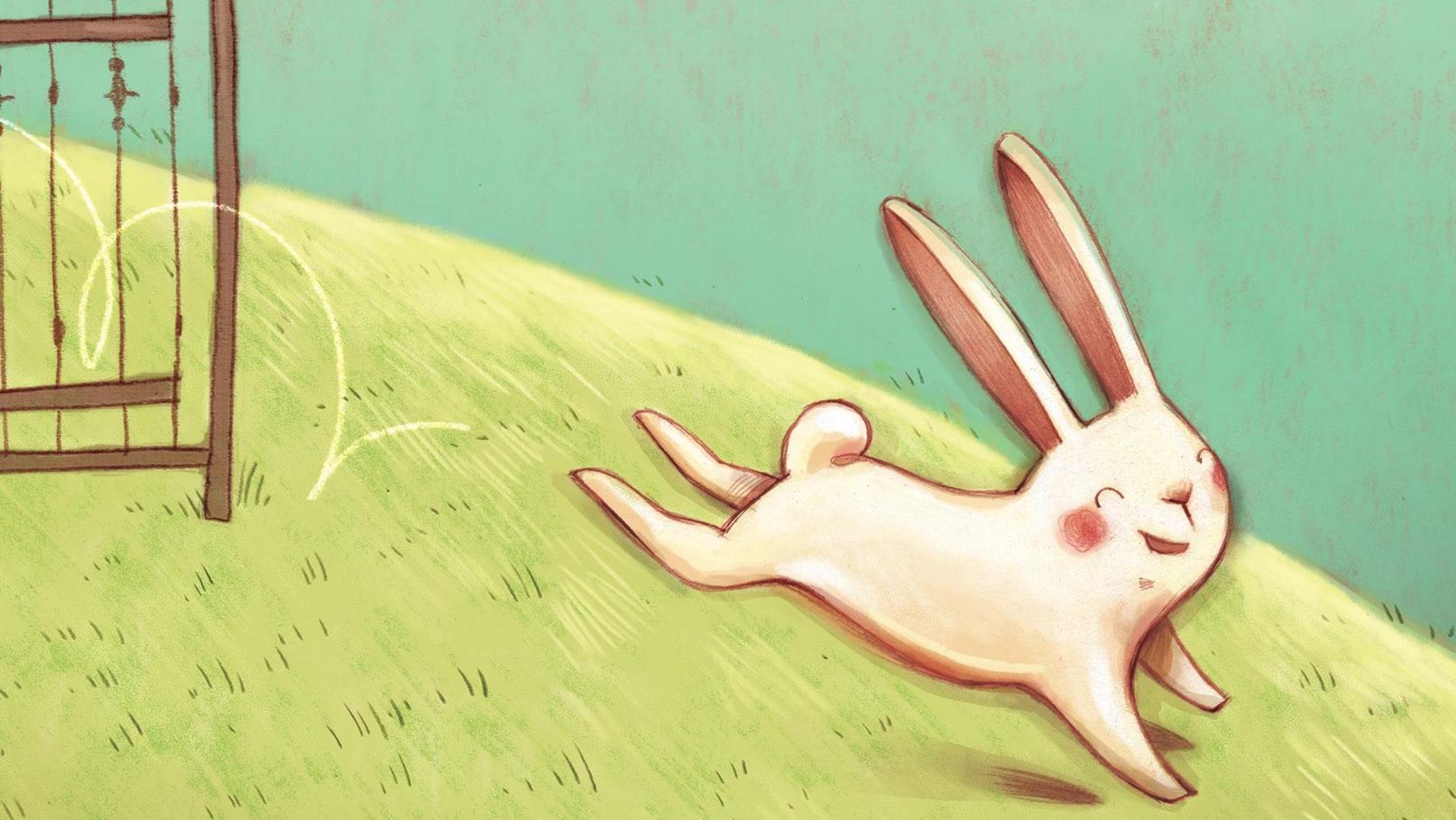 Illustration d'un lapin souriant qui saute par-dessus une barrière et s'enfuit