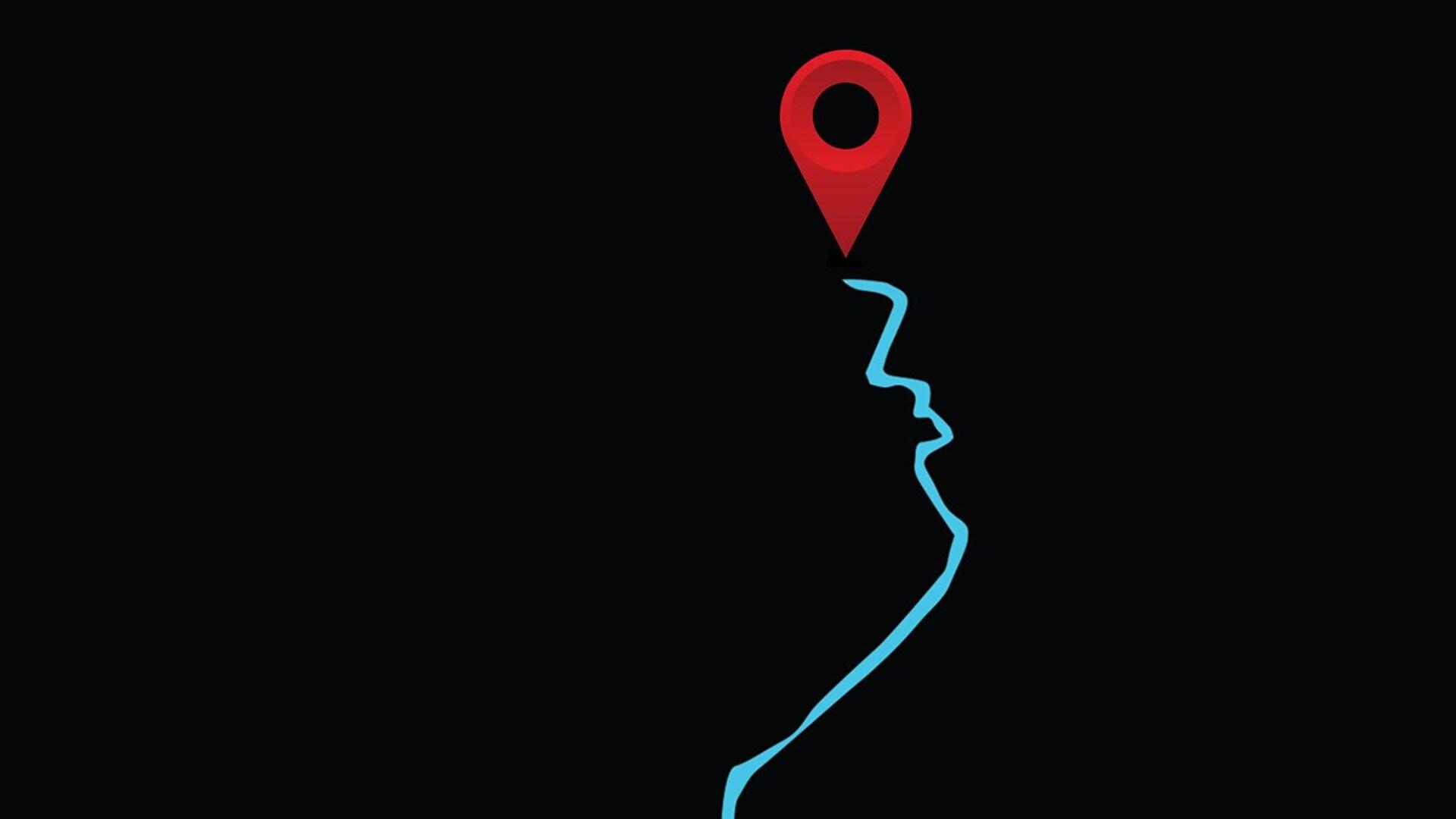 Illustration d'une route qui forme le contour d'un visage