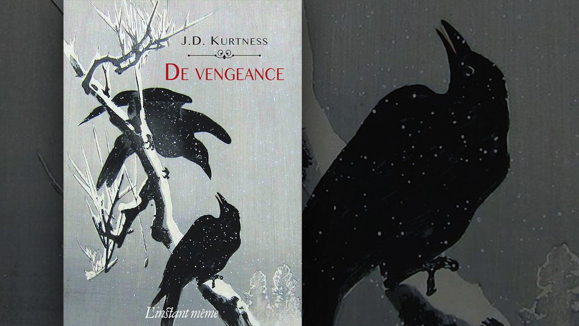 La couverture du livre «De vengeance» de J. D. Kurtness : une illustration représentant deux corbeaux sur une branche givrée.