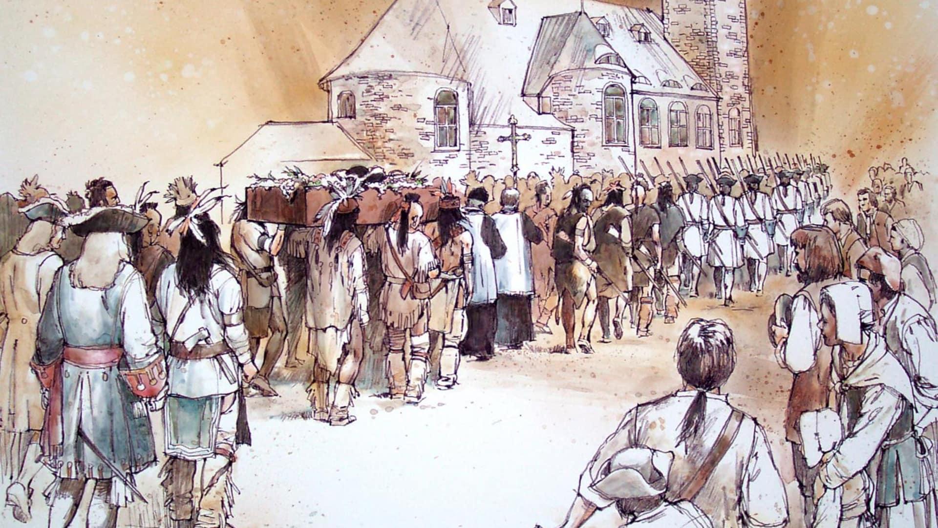 Les funérailles du chef huron-wendat Kondiaronk en 1701