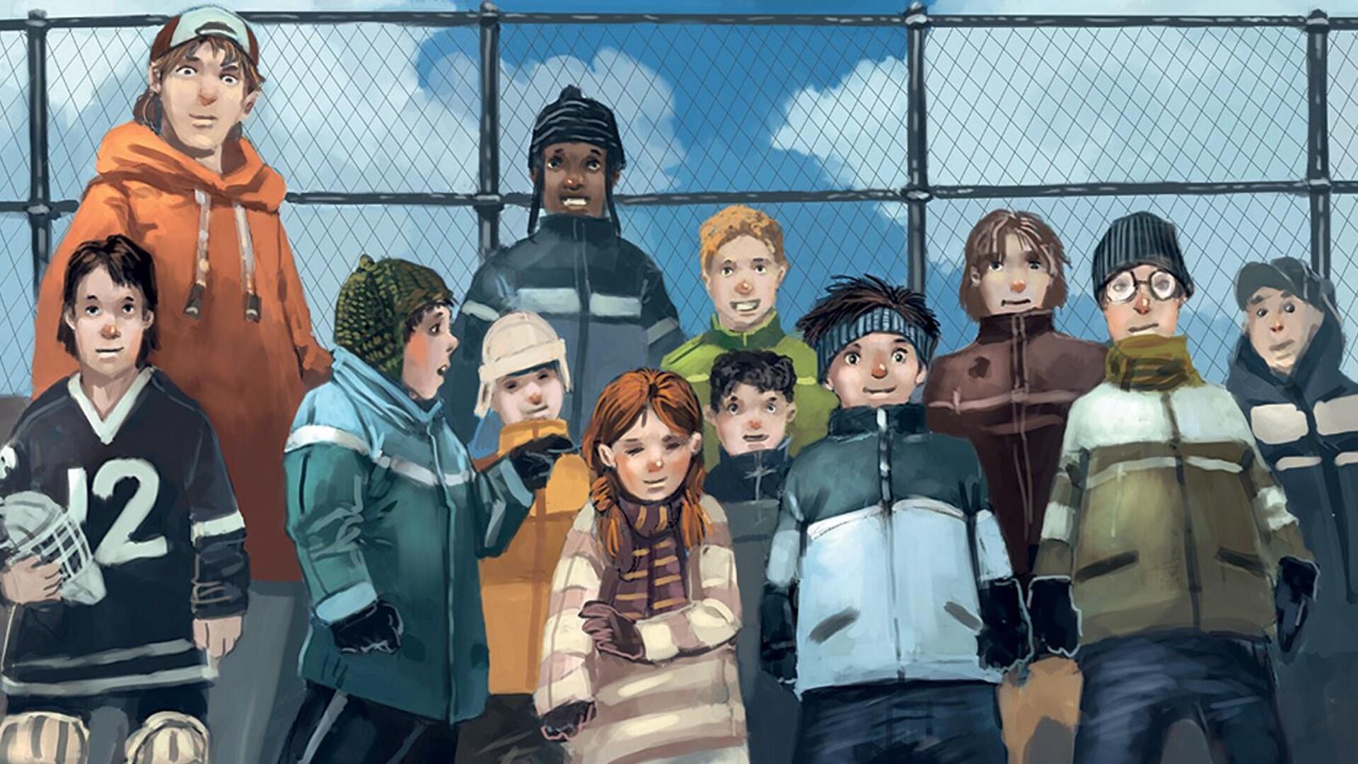 Illustration d'une dizaine d'enfants sur une patinoire extérieure, les bâtons de hockey jetés sur la glace comme des mikados.